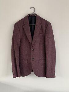 Mens Jack Wills Blazer Suit Jacket Burgundy Purple Size Small