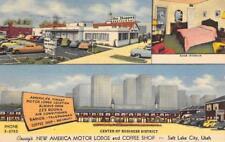 Covey's New America Motor Lodge, Salt Lake City, Utah Roadside 1954 Postcard