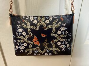 TED BAKER Kyoto Gardens Clutch Bag Crossbody Rose Gold Chain Strap $169