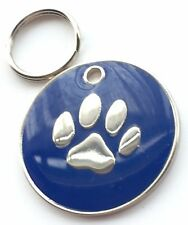Personalised Engraved Dark Blue Enamel Paw Print - Dog/Cat Pet ID Tag 26 mm