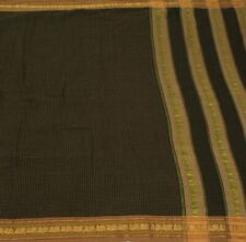 Vintage Indian Saree 100% Pure Cotton Zari Woven Peacock Border Black Soft Sari