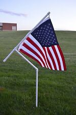New 1 Inch Heavy Duty PVC Flag Pole Kit with USA Flag for Camping, RVing, etc.