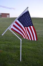 "New 3/4"" Heavy Duty Pvc Spinner Flag Pole Kit with Usa Flag for Camping, etc"