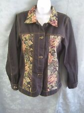 Denim & co Black Denim & Tapestry Jacket Size Small