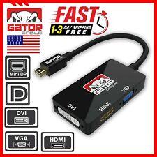 Mini DisplayPort Thunderbolt Male To DVI-D HDMI VGA Adapter Converter 4K 1080P