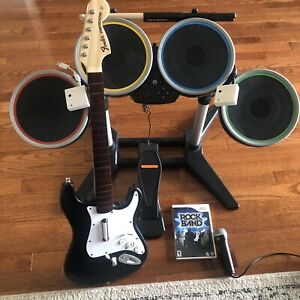 Wii Rock Band Set With Dongals Tested Drums Stratocaster Guitar Game and Mic