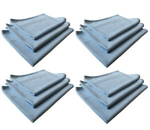 12pk Real Clean 16x16 Microfiber Blue Window Glass Towels For Home Auto No Lint