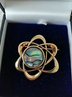 Gorgeous Gold Tone Abalone Atomic Style Modernist Brooch Pin VGC Statement