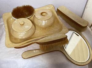 Vintage Bakelite Vanity Dressing Set 3 X Brushes Mirror Tray Yellow Gold Marble