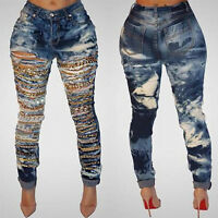 Womens Sexy Waist Skinny Pencil Pants Ripped Holes Slim Fit Denim Jeans Stretch