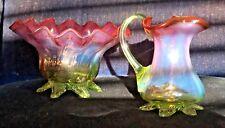 Cranberry Uranium Glass Jug Bowl Victorian Antique Art