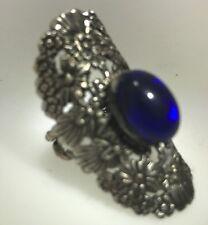 1960's Blue  Stone Silver Tone DESIGNER Kim Craftsmen Ring