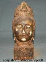 """10 """"vieux jade blanc chinois doré buste tête de déesse Kwan-Yin Guan Yin"""