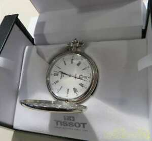 TISSOT mechanical pocket watch Silver with box
