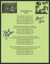 GRACE SLICK & PAUL KANTNER Signed 'Somebody To Love' Lyrics - Rock Band preprint
