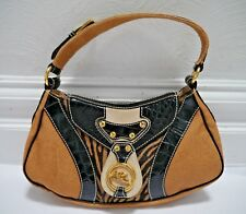 ETRO canvas leather and zebra handbag with gold logo detail