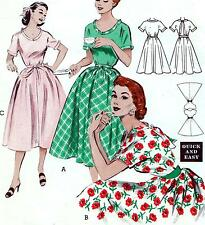 """EASY Vintage 50s FULL SKIRT DRESS Sewing Pattern Bust 34"""" Sz 10 PROM Evening"""