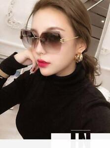 Big Oversized Square Rimless Sunglasses Women Fashion Flat Top Shade Vintage