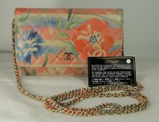 CHANEL 2009-10 Multicolor Floral Watercolor Quilted Leather Wallet on Chain WOC