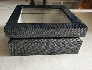 OYOBox Luxury Eyewear Organizer Case Carbon Fiber Grey Black Leather Lining