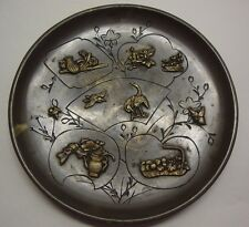 Japanese Meiji Period well decorated bronze dish