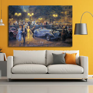 Canvas Print Painting Alan Fearnley Retro Car Evening Home Wall Art Decor 16x24