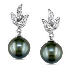 10k White Gold 9-9.5 mm Tahitian Pearl and 1/10 ct Diamond Earrings H-I I2-I3
