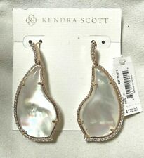Kendra Scott Tinley Earrings Rose Gold Ivory Pearl CZ Cubic Zirconia $120 NWT