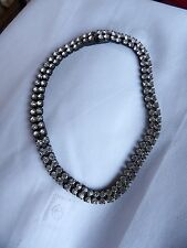 FAB TWIN ROW CRYSTAL SET BLACK PLATED GOTH STYLE BLING CHOKER NECKLACE