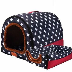 Indoor Dog House Medium Warm Cave Cushion Winter Sofa Plush Bed Pet Kennel Soft
