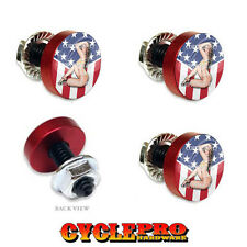 4 Vivid Red Billet License Plate Frame Tag Bolts - Girl Usa Flag - 173