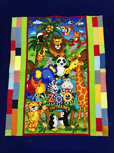 Handmade Quilted Cotton Cot Topper Playmat Quilt Baby Zoo Animal Entrance Colour