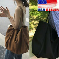 Large Capacity Women Canvas Tote Shoulder Bags Lady Durable Eco Shopping Handbag