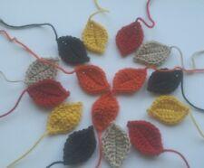 15 Large handmade crochet autumn leaf applique/ embellishment