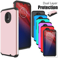 For Motorola Moto Z4 / Z4 Play Shockproof Case Cover / Glass Screen Protector US