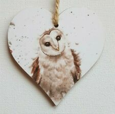 Handmade Wooden Hanging Heart Door Hanger Beautiful Wrendale Owl Print