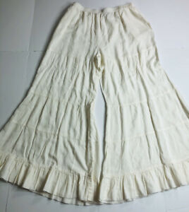 April Cornell Large Ivory Boho Wide Leg Tiered Pants Pull On Pockets Womens