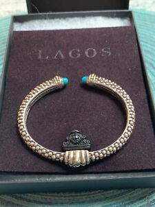 Lagos Caviar Gemstone Cuff Turquoise Bracelet Sterling Silver & 18kt Gold 8mm