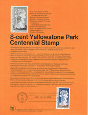 #7201 8c Yellowstone Park Stamp #1453 Souvenir Page w/Parsons Watermark