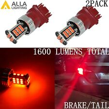 Alla Lighting 3157 3020 30-LED Brake Stop Tail Lights Bulbs Lamps,Vivid Red,2pcs