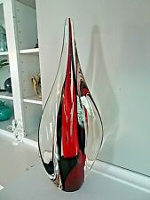 Vintage Art Glass FLAME Twist SCULPTURE Black & Orange / Red