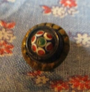 Antique Shank Button  Millefliori Cneter Surrounded by Blue on Metal 3/8 Inch Wi