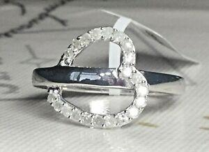 *LOVELY* .925 0.35CT DIAMOND HEART  RING