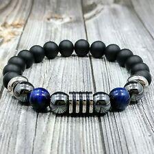 "8""L STAINLESS STEEL 10mm Blue Tigers Eye+Hematite+Onyx Gemstone Beaded Bracelet"
