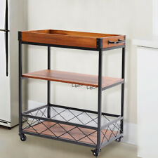 3 Tier Rolling Wooden Kitchen Trolley Cart Dining Room Iron Serving Stand Rack