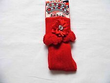 BABY GIRL KNEE LENGTH  SOCKS WITH FLOWER AND DIAMANTE STONE