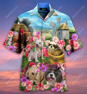 Camellia Dogs Farm Hawaiian Shirt Full Size S-5XL