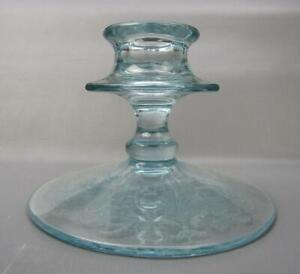 "6460 Fostoria VERSAILLES #278 Elegant Azure Etched Glass #2375 3"" Candle Holder"