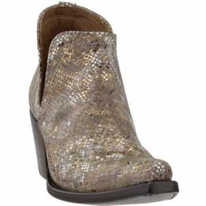"Ariat Dixon Snake Snip Toe   Womens  Booties Casual  Mid Heel 2-3"" - Gold - Size"