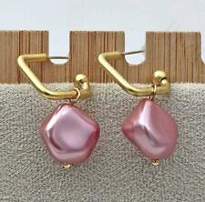18K Gold Plated Earring Pink Pearl Symmetry Stylish Delicacy 925 Silver Pins DS